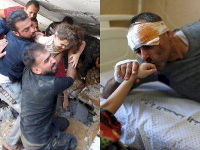 Gadis di Gaza Ini Berhasil Selamat dari Serangan Israel dan Bertemu Kembali dengan Ayahnya