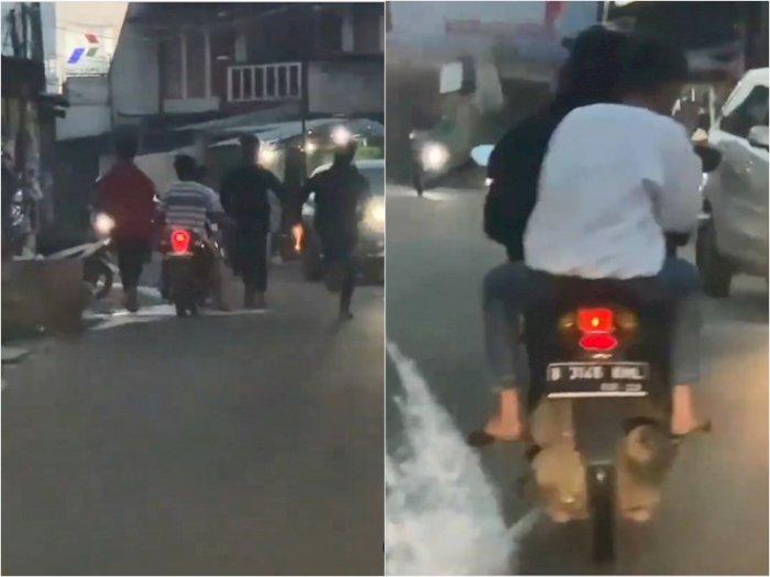 Meresahkan! Segerombolan Remaja Ini Bawa Samurai Naik Motor di Tengah Jalanan Bekasi