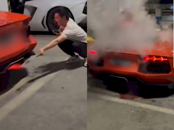 Pamer Bisa Bakar Daging Pakai Knalpot, Pria Ini Malah Lihat Mobil Lamborghini-nya Berasap