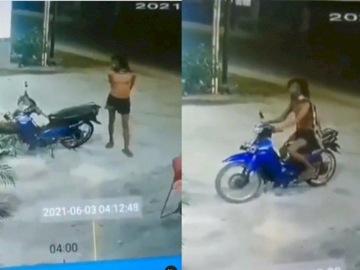 Viral Rekaman CCTV Aksi Pria Pura-pura Gila Curi Sepeda Motor yang Tengah Parkir