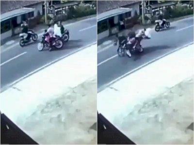 Detik-detik Kecelakaan Motor di Magelang, Bocah Perempuan Ikut Terpental ke Aspal