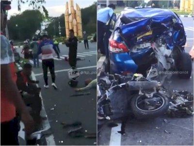 Tragis! Kecelakaan Beruntun di Pontianak, 5 Kendaraan Hancur, 1 Orang Tewas & 4 Luka-luka