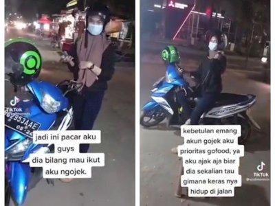 Driver Ojol Ajak Pacar Merasakan Kerasnya Hidup di Jalanan, Netizen Auto Nyinyir