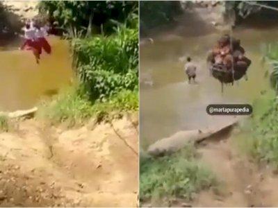 Fakta Mengejutkan Bocah SD yang Viral karena Sebrangi Sungai dengan Cara Gelantungan