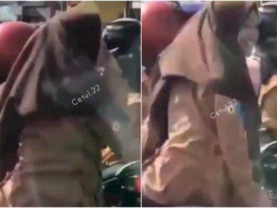 Siswi SMA Berjilbab yang Merokok di Atas Motor Tak Pakai Helm, Rumahnya Didatangi Polisi