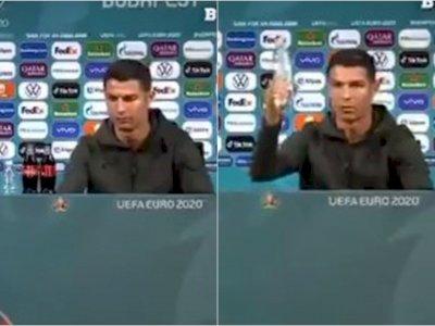 Momen Ronaldo Singkirkan Minuman Soda dan Angkat Air Putih saat Jumpa Pers Euro 2020