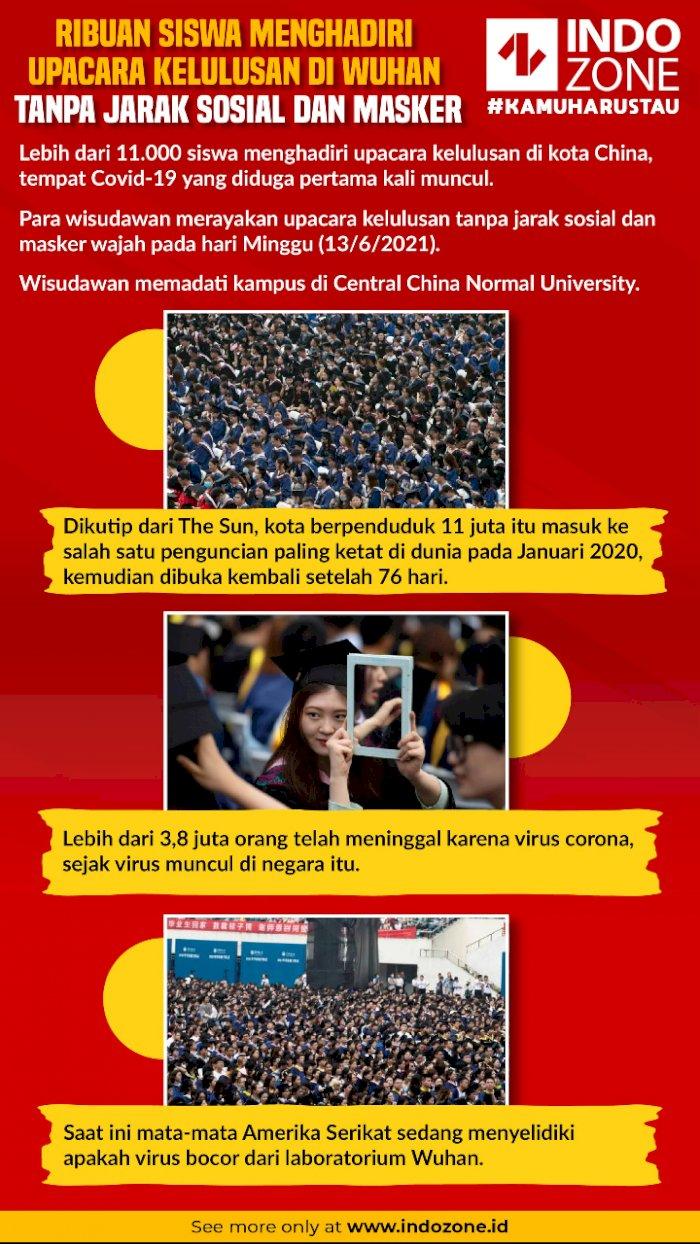 Ribuan Siswa Menghadiri Upacara Kelulusan di Wuhan Tanpa Jarak