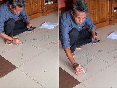 Kreatif! Guru Ini Tulis Materi untuk Muridnya di Lantai Rumah