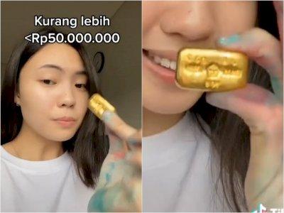 Astaga! Viral Wanita Parut Emas Batangan Rp 50 Juta, Ternyata Untuk Ini