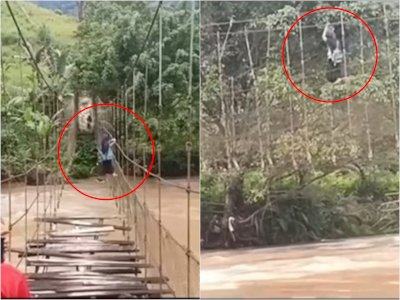 Sejumlah Pelajar Nekat Bergantung di Tali Jembatan Rusak, Lewati Sungai di Mamasa Sulbar