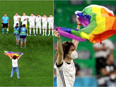 Momen Penyusup Kibarkan Bendera Pelangi Pro LGBT Sebelum Kick Off Jerman vs Hungaria