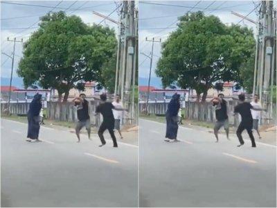 Bikin Tegang, Emak-emak Ini Lerai Dua Pria yang Duel Parang di Tengah Jalan Sidrap, Sulsel