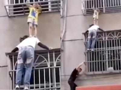 Video Balita Tersangkut di Jendela Gedung, Wanita Ini Menyangga Pakai Bahu Agar Tak Jatuh