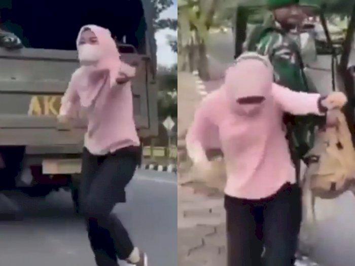 Wanita Berhijab Ini Joget Demi Konten di Depan Prajurit TNI, Netizen: Urat Malunya Hilang