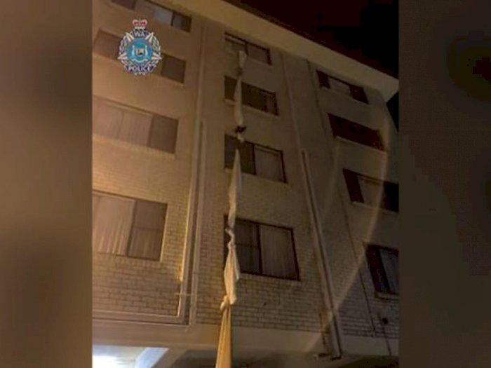 Duh, Pria Ini Nekat Kabur dari Hotel dengan Pakai Sprei ketika Jalani Karantina