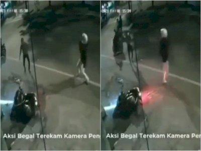 Aksi Brutal Begal Tendang dan Ancam Pemotor Pakai Pisau di Simpang USU Medan, Terekam CCTV