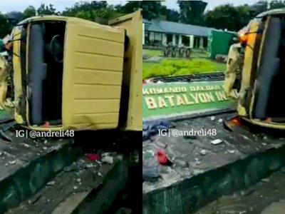Duh! Truk Terbalik Usai Tabrak Pagar Markas Militer di Jayapura, Diduga Sopir Mabuk Miras