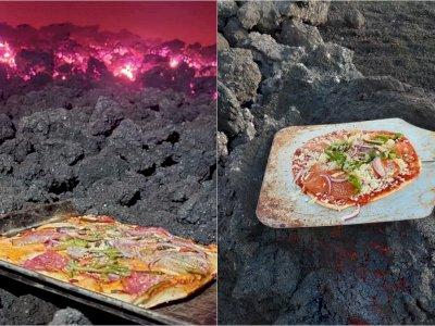 Viral Hidangan Pizza Diatas Gunung Berapi, Dipanggang  Diatas Lava