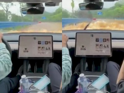 Video Pria Mengendarai Mobil Tesla dengan Nyaman Meski Melewati Banjir Setinggi Kaca