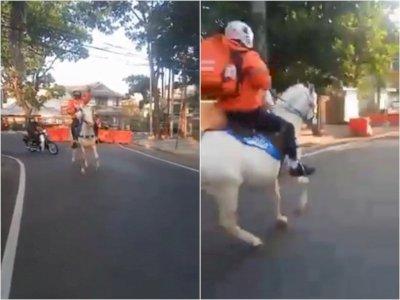 Viral, Video Driver Shopee Food Tunggangi Kuda Antar Makanan Pelanggan: Aneh-aneh Wae!