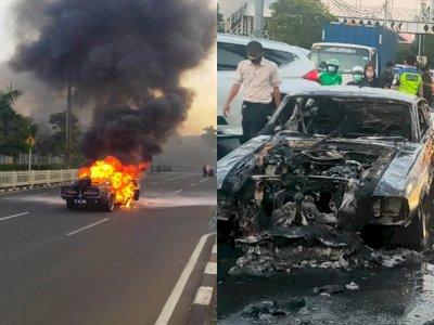 Penampakan Mobil Ford Mustang GT500 Eleanor yang Terbakar di Pondok Indah, Jakarta Selatan
