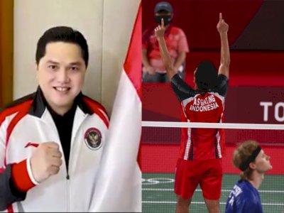 Deg-degan Nonton Perempatfinal Bulutagkis Olimpiade, Erick Thohir: Terima Kasih Ginting!