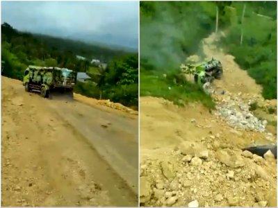 Ngeri! Detik-detik Truk Terguling ke Jurang di Gorontalo, Tergelincir di Jalanan Tanah