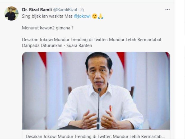 Tagar Jokowi Mundur Trending di Twitter, Rizal Ramli Buat Cuitan Bahasa Jawa di Twitter