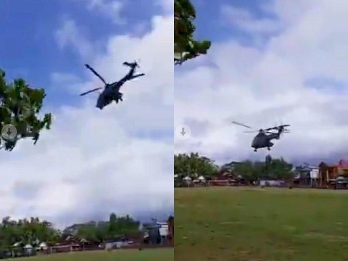 Viral Helikopter Tiba-tiba Mendarat di Depan Hajatan, Para Tamu Undangan Bengong Lihatnya