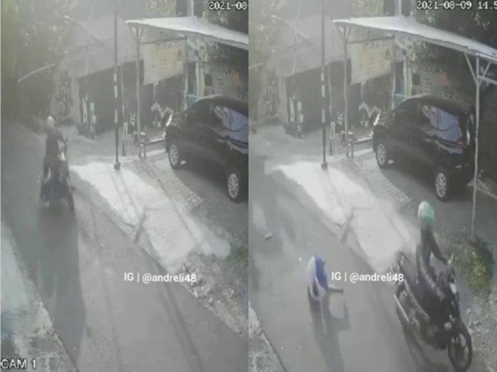 Tragis! Detik-detik Bocah Terguling Beberapa Meter di Aspal, Korban Tabrak Lari Pemotor
