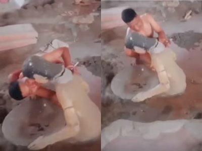Miris! Pria Lecehkan Patung Wanita di Museum Mulawarman Tenggarong, Banjir Kecaman Netizen