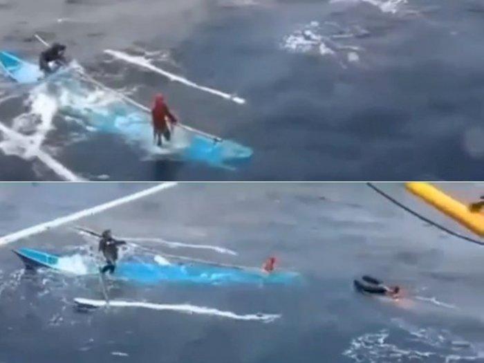 Detik-detik Penyelamatan Nelayan Terbawa Ombak ke Perairan Jawa, Sudah Hilang Seminggu