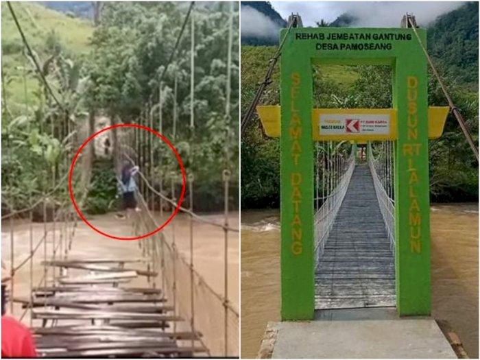 Dulu Viral Pelajar Bergelantungan Lewati Sungai, Jembatan Rusak di Mamasa Sudah Diperbaiki