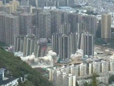 China Hancurkan 15 Gedung Pencakar Langit dengan Peledak yang Dipasang di 85.000 Titik