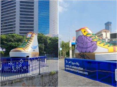 Baru Diresmikan Kemarin, Tugu Sepatu Jadi Sasaran Vandalisme