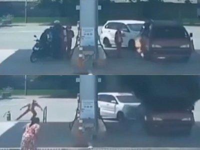 Detik-detik Mobil Terbakar saat Isi BBM di SPBU Nganjuk Jatim, Netizen Salfok ke Petugas