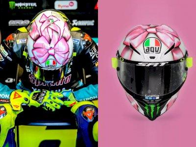 Melihat Desain Helm Warna Pink Milik Valentino Rossi di MotoGP San Marino 2021!