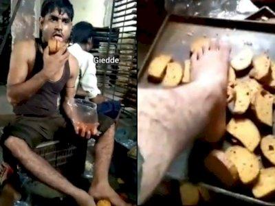 Menjijikkan! Sekelompok Pria Ini Menginjak dan Menjilat Roti yang Mereka Buat untuk Dijual
