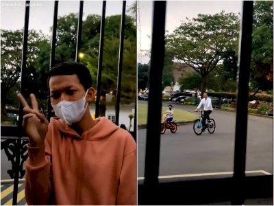 Sedang Santai di Depan Gedung Agung, Pria ini Disapa oleh Presiden Jokowi Saat Bersepeda