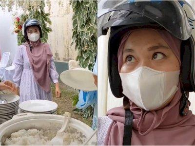 Bikin Ngakak, Wanita Ini Lupa Lepas Helm saat Kondangan, Malah Santuy Ngambil Makanan