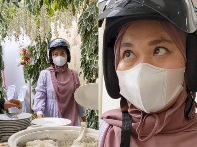 Viral Wanita Lupa Buka Helm di Kondangan, Pas Sadar  Langsung Ngakak