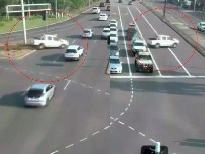 Viral Momen Ajaib Mobil Hilang Kendali Nyebrang Jalan Tanpa Tabrak Kendaraan Lain