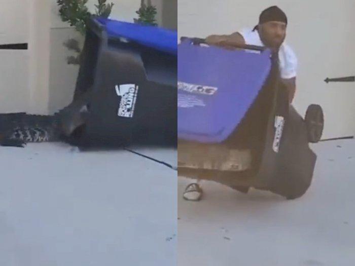 Greget Sekali! Pria Ini Berhasil Menangkap Buaya hanya Menggunakan Tong Sampah