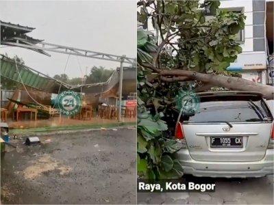 Hujan Deras dan Angin Kencang di Bogor, Terbangkan Atap Angkringan Hingga Tumbangkan Pohon