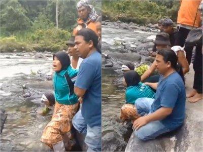 Seorang Ibu Menangis Panggil Anaknya yang Hilang di Air Terjun Lae Une Pakpak Bharat