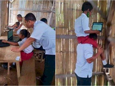 Potret Pilu Guru di NTT Gendong Murid Demi Dapat Sinyal, Sampai Manjat Dinding Sekolah