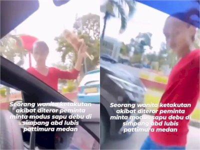 Wanita Diteror Tukang Sapu Debu di Medan, Ngamuk Pukul Kaca Mobil karena Tak Diberi Uang