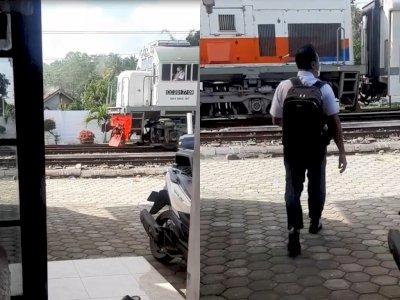 Tak Datang ke Stasiun, Petugas KAI Ini Malah Dijemput  Kereta di Depan Rumahnya