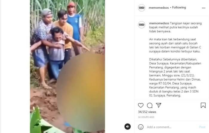 Tangis seorang pria melihat dua anaknya tewas tenggelam di galian