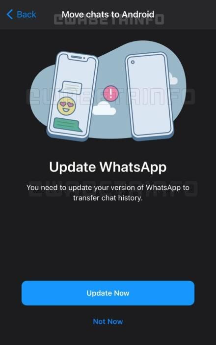 Bocoran screenshot fitur Migrasi data WhatsApp ke Android